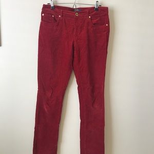 Brooks Brothers Natalie Fit Red Corduroy Pants